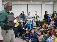 Alan and Oscar, the great-horned owl, at the Wallingford Library.
